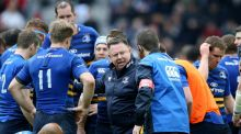 Coach Matt O'Connor talks to the  Leinster players during the Champions Cup semi-final against Toulon in Marseille. Photograph: Billy Stickland/Inpho