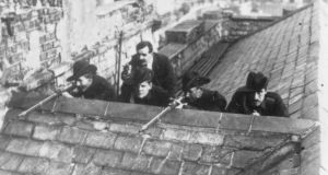 Revolutionary aim: Irish Citizen Army soldiers on the roof of Liberty Hall in Dublin just after the 1916 Rising, for many a key moment in securing the independence of Ireland and the eventual establishment of a republic. Photograph: Robert Hunt/Windmill Books/UIG via Getty