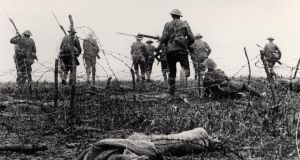 Over the top: soldiers on the first day of Battle of the Somme, in July 1916, which for some is a key foundational moment in the creation of Northern Ireland. Photograph: Art Archive/Imperial War Museum/Getty