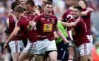 Kieran Martin of Westmeath celebrates at the final whistle after his side's victory over Meath in the Leinster SFC semi-final at Croke Park. Photograph: Donall Farmer/Inpho