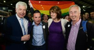 At the marriage referendum count last month were Alex White, John Lyons, Tánaiste Joan Burton and Kevin Humphreys. Photograph: Cyril Byrne.