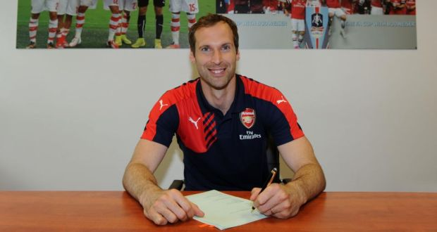535bbd20fb4 Petr Cech signs for Arsenal after completing his transfer from fellow  Barclays Premier League team Chelsea