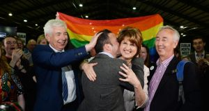 TDs Alex White, John Lyons, Joan Burton and Kevin Humphreys at the marriage referendum count at the RDS. Photograph: Cyril Byrne