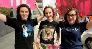 Sarah Murphy, Hepsebah O'Reilly and Dee Fahy from Westport, Co Mayo at the O2 arena for the Taylor Swift concert. Photograph: Cyril Byrne