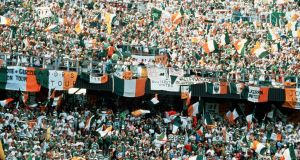 Republic of Ireland  fans soak up the atmosphere.