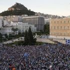 Protesters last week in Athens attend a rally in front of the parliament building, calling on the government to do a deal with its international creditors. Photograph:   Reuters/Marko Djurica.