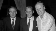 Jack Charlton with Arnold O'Byrne (left) and Brian Lenihan.