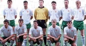 The Ireland team line up before their match against Egypt at the 1990 World Cup. Photograph: Billy Stickland/Inpho