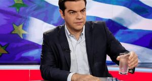 "Greece's prime minister Alexis Tsipras: ""Greece remains at the negotiating table . . ."" Photograph: Yorgos Karahalis/Bloomberg"