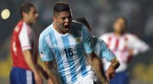 Marcos Rojo was on the scoresheet as Argentina thrashed Paraguay 6-1 to reach the Copa America final. Photograph: Afp