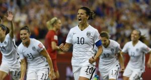Carli Lloyd's penalty set the USA on their way to a 2-0 win over Germany in their Women's World Cup semi-final. Photograph: Epa