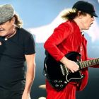 British singer Brian Johnson (left) and Scottish-born Australian guitarist Angus Young of AC/DC performing on stage in the Olympiastadion in Berlin last week as part of their Rock Or Bust World Tour. Photograph: Britta Pedersen/EPA