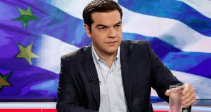 Greek prime minister Alexis Tsipras  prepares for a  televised interview on Monday. Photograph: Bloomberg