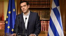 Greek Prime Minister Alexis Tsirpas delivers a televised address to the nation from his office at Maximos Mansion  in Athens, Greece. Photograph: Getty