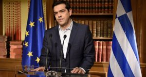 Greek prime minister Alexis Tsirpas delivers a televised address to the nation from his office at Maximos Mansion on Wednesday. Photograph: Getty