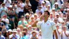 Novak Djokovic celebrates beating Jarkko Nieminen in their second-round match at Wimbledon. Photograph:   Dominic Lipinski/PA