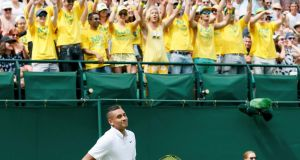Nick Kyrgios in front of Australia fans during his match against Juan Monaco of Argentina at the Wimbledon. Photograph:  Henry Browne/Reuters
