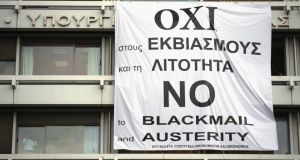 A banner supporting the 'No' vote in the upcoming referendum hangs from the offices of the Greek finance ministry. Photograph: Getty