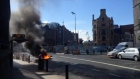 Dramatic footage in Dublin of motorbike engulfed in flames