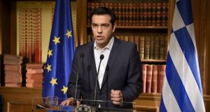 Greek prime minister Alexis Tsipras addresses the nation on Wednesday in this handout photo released by his office in Athens. Photograph: Reuters