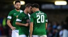 Cork City players Mark O'Sullivan and Billy Dennehy square up to each other after the 1-1 draw with KR Reykjavik in the first leg of the Europa Cup first qualifying round. Photograph: Ryan Byrne/Inpho