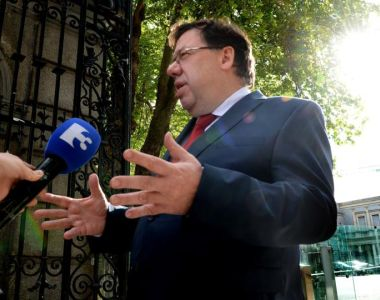 Former taoiseach Brian Cowen speaks to the media as he arrives for his appearance before the Oireachtas banking inquiry at Leinster House on Thursday. Photograph: Cyril Byrne/The Irish Times.