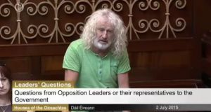 Mick Wallace speaking in the Dáil on Thursday
