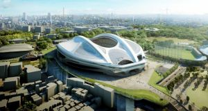 Artist's impression of the stadium for the the 2020 Olympic Games in Tokyo, designed by Iraqi-British architect Zaha Hadid. Photograph:  Japan Sport Council/AFP