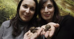 Sisters Penny and Maria Vlachou, owners of the Greek snail farming company Fereikos Helix,  Korinthos, west of Athens. Photograph: Yiorgos Karahalis/Reuters