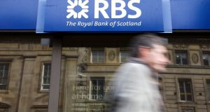 Royal Bank of Scotland fell 1.9 per cent, hit by news the bank may need to pay $13bn to settle claims  it misled investors. Photograph: Chris Ratcliffe/Bloomberg