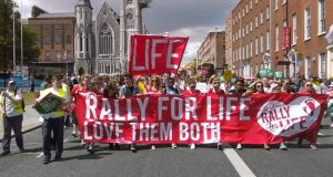 The Rally for Life demonstration which began at Parnell Square in Dublin on Saturday afternoon. Photograph: Ciarán D'Arcy