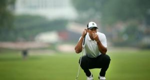Tiger Woods shot a second round 69 leaving him four shots off the lead in the Greenbrier Classic. Photograph: Getty