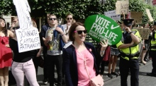 Anti abortion rally and pro choice campaigners clash