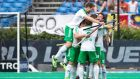 Ireland players celebrate at the final whistle after the 4-1 victory over Malaysia in the  World Hockey League semi-final fifth-place play-off  in Antwerp. Photograph: Grant Treeby/Inpho