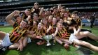 Kilkenny minor team celebrates with the trophy after defeating Dublin in the Leinster final at  Croke Park. Photograph: Inpho