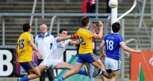 Roscommon's Enda Smith scores a late goal at Kingspan Breffni Park. Photograph: Tommy Grealy/Inpho
