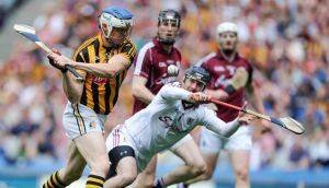 TJ Reid scores Kilkenny's goal during the  Leinster SHC Final against Galway at Croke Park. Photograph:  Tommy Grealy/Inpho