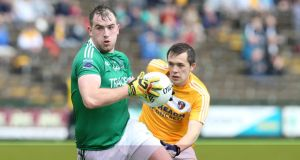 Fermanagh's Sean Quigley hit 14 points against Amtrim in the qualifier clash at Brewster Park, seven of which came from play. Photograph:   Andrew Paton/Inpho/Presseye