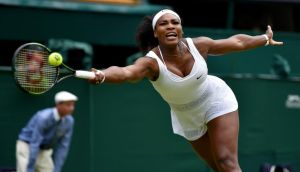 Serena Williams beating her sister Venus at Wimbledon on Monday. Photograph: Reuters/Toby Melville