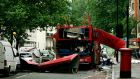 The bomb destroyed number 30 double-decker bus in Tavistock Square in central London. Photograph: Dylan Martinez/Reuters