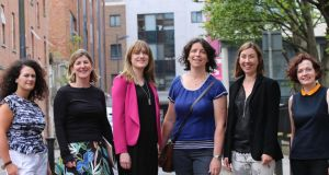 From left, Elaine Grainger of Talbot Gallery and Studios; Liz Coman of the Lab Gallery; Sheena Barrett of the Lab; Liz Burns of Fire Station Artists' Studios; Hilary Murray of ArtBox; and Oonagh Young of Oonagh Young Gallery. Photograph: John Beattie