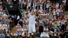 Novak Djokovic is through to the last eight of Wimbledon after ha came from two sets down to beat South Africa's Kevin Anderson. Photogaph: Reuters