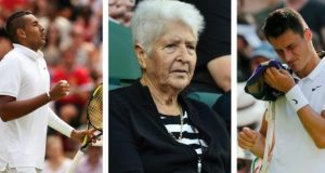 Nick Kyrgios in Wimbledon;  Dawn Fraser and Bernard Tomic, also in action in Wimbledon. Photographs: Getty, Reuters