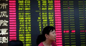 Shanghai Composite Index: for every stock that rose, 16 fell, part of a broader decline which has seen the index fall more than 30 per cent in three weeks. Photograph: Wu Hong/EPA