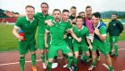 Ireland players celebrate after their win against Russia which sees them into the quarter-finals of the World University Games in South Korea. Photo: Cathal Noonan/INPHO