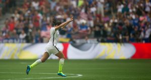 United States' Carli Lloyd celebrates her second goal against Japan during the Fifa Women's World Cup final. The  United States' 5-2 victory over Japan was seen by 25.4 million viewers. Photograph: Darryl Dyck/The Canadian Press