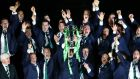 Ireland celebrate with the Six Nations trophy. The joint bid from BBC and ITV may still fall short of the expectations of the three Celtic unions. Photograph: Cathal Noonan/Inpho.