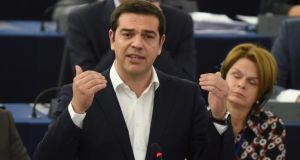 Greek prime minister Alexis Tsipras (C,  delivers his speech during the plenary session at the European Parliament in Strasbourg today. Photograph: Patrick Seeger/EPA