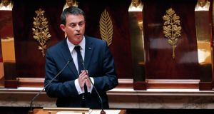 French prime minister Manuel Valls delivers a government statement on Greece at the National Assembly in Paris. France would do all it could to keep Greece in the euro zone, he said on Wednesday. Photograph: Jacky Naegelen/Reuters