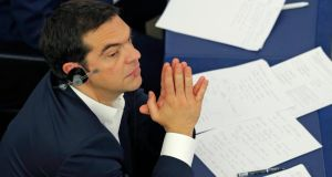 Greek prime minister Alexis Tsipras attends a debate on Greece at the European Parliament in Strasbourg on Tuesday. Photograph: Vincent Kessler/Reuters